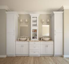 Aspen White Shaker Ready To Assemble Bathroom Vanities - Floor to ceiling cabinets for bathroom