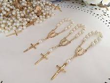 White And Gold Baptism Decorations Baptism Christening Party Rosaries Fillers Ebay