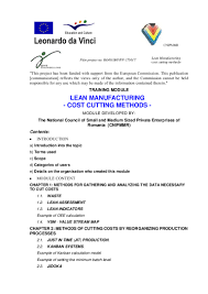 lean manufacturing cost cutting methods
