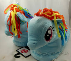 my little pony rainbow dash women plush face slippers house