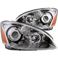 nissan altima yellow fog lights anzo usa nissan altima 02 04 projector headlights chrome clear