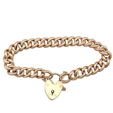 bracelet with heart images Antique 1901 yellow gold bracelet with heart padlock clasp for jpg