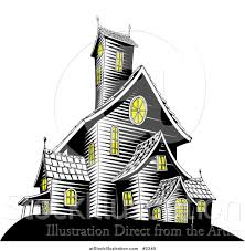 haunted houses clipart vector illustration of lights on in a creepy haunted house by
