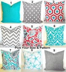 coral outdoor pillows blue throw pillows grey throw pillow