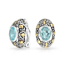 arabian earrings bali style aquamarine color oval cz 2 tone clip on earrings