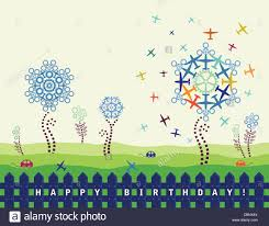 boys mens happy birthday card with planes and cogs stock photo