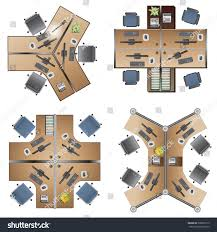 office furniture workstation top view interior stock vector