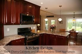 kitchen design with cabinets kitchen design dark cherry cabinets and black stainless designer
