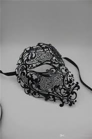 halloween masquerade mask black silver half face skull men women phantom evil venetian metal