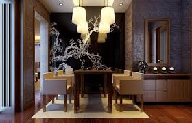 good looking wallpaper at center wall of elegant dining room which