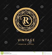 r logo monogram design elements graceful template calligraphic elegant