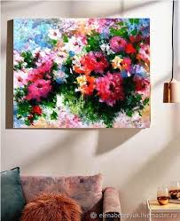 order palette knife painting on canvas abstract flower painting elenaberezyukart