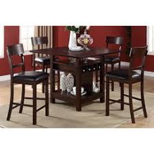 poundex counter height dining table with wine rack cherry