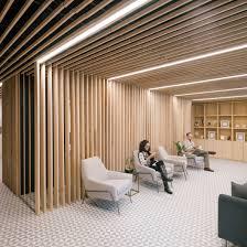 wooden slats surround reception at paperless post u0027s manhattan