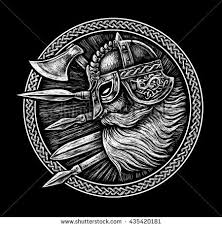 ancient viking in a ring with scandinavian ornament logo for