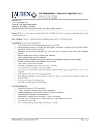 Resume Job Duties Fresh Accounts Payable Job Description Tesstermulo Com