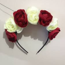 cream white and red rose flower crown rixie online store