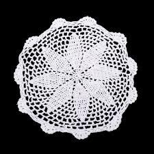12pce flower design white cotton doily doilies machine crochet