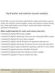 Examples Of Waitress Resume by Example Of A Waitress Resume Resume For Your Job Application