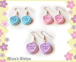 sweet earrings kitsch heart sweet earrings jewellery ebay