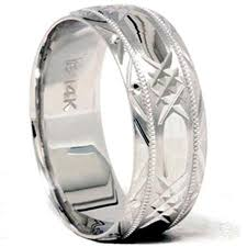 Mens 8mm White Gold Comfort Fit Wedding Band Buy Mens 14k White Gold 8mm Stone Finish Comfort Fit Wedding Band