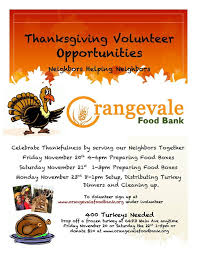 thanksgiving volunteer opportunities orangevale food bank