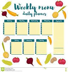 weekly menu blue daily planner stock vector image 78235959