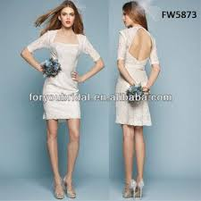 fw5873 high quality backless long sleeves lace knee length