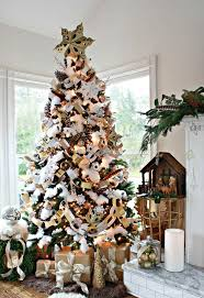 slipcovered grey downton gold and silver tree