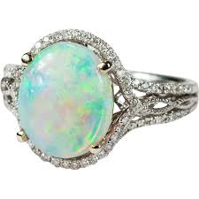 natural opal rings images Vintage 3 67ctw natural opal diamond ring 14k gold diamond halo jpg