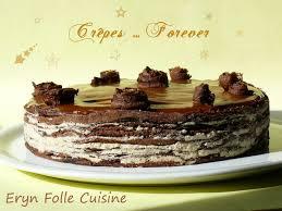 eryn folle cuisine gâteau de crêpes chocolatées crème de noisettes caramel de poires
