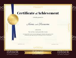 elegant certificate of achievement template with blue ribbon stock