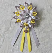 to be corsage baby shower decorations yellow gray white to be corsage