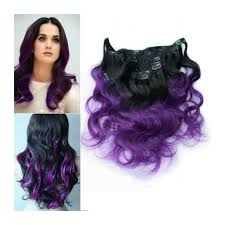 ombre extensions purple ombre clip in hair extensions 100g human hair