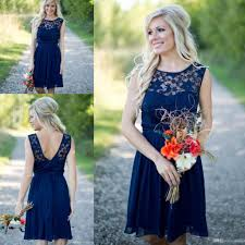 country style 2017 newest royal blue chiffon lace short dresses