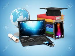 electronic gadgets electronic educational technology or elearning concept modern