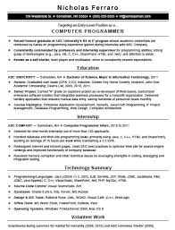 Programming Resume Examples by Free Entry Level Computer Programming Resume Template Sample