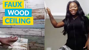 Wood Peel And Stick Wallpaper by Faux Reclaimed Wood Ceiling Using Peel U0026 Stick Wallpaper Youtube