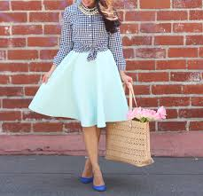 banana republic petite gingham shirt mint midi skirt stylish