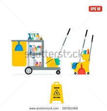 flat vector trolley accessories cleaning company stock vector
