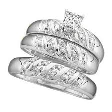 cheap his and hers wedding ring sets wedding rings sets for his and 1 carat trio wedding ring set