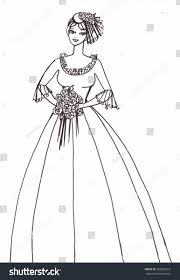 drawing wedding dresses pencil drawing wedding dress on beautiful stock illustration