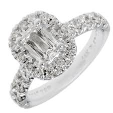 platinum halo engagement rings martin flyer promise cut cushion halo engagement ring in