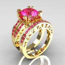 Gps Wedding Ring by Modern Vintage 14k Yellow Gold 3 0 Carat Pink Sapphire Solitaire