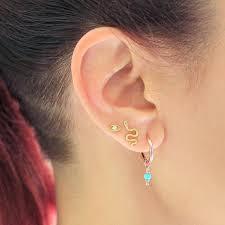 back stud earrings 14k tiny diamond evil eye stud earring cartilage piercings