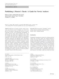 how to write an acknowledgement for a thesis publishing a master s thesis a guide for novice authors pdf publishing a master s thesis a guide for novice authors pdf download available