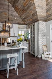 Reclaimed Wood Kitchen Cabinets Whitewashed Brick And Reclaimed Barn Wood Shiplap Interiors