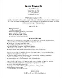 Professional Summary On Resume Examples by Professional Kids Club Attendant Templates To Showcase Your Talent