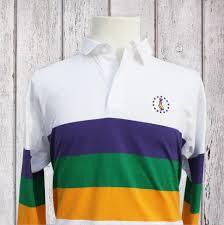 mardi gras polo shirt mardi gras rugby shirt white with mg stripes