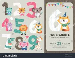 Party Invitation Card Template Birthday Anniversary Numbers Cute Animals Birthday Stock Vector